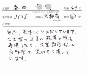 京都府40代男性の白味噌の感想