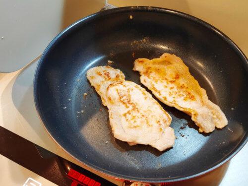 豚肉の西京漬けを焼く。