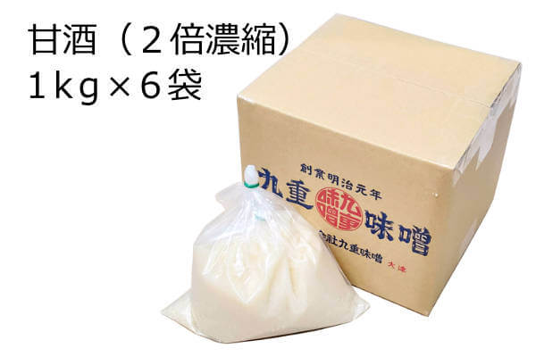 甘酒1kg×6袋、2倍濃縮で手作り米麹を使った全麹の非加熱・生甘酒です。